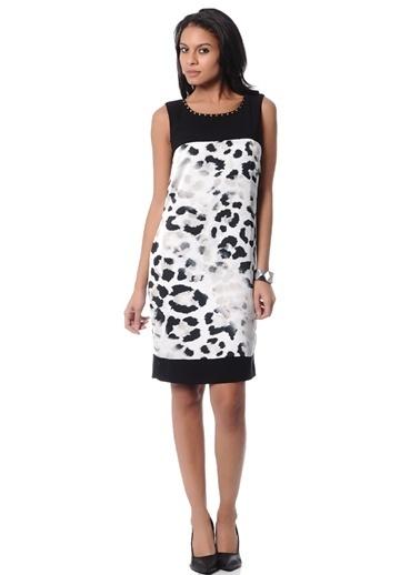 Limon Company Taşlı Bato Yaka Desenli Kadın Günlük Elbise Siyah